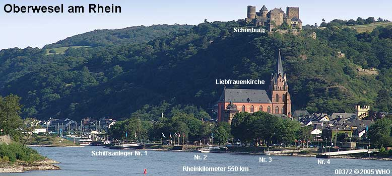 Oberwesel On Rhine Railway Station Castle Schoenburg Haags Tower And Church Of Our Holy